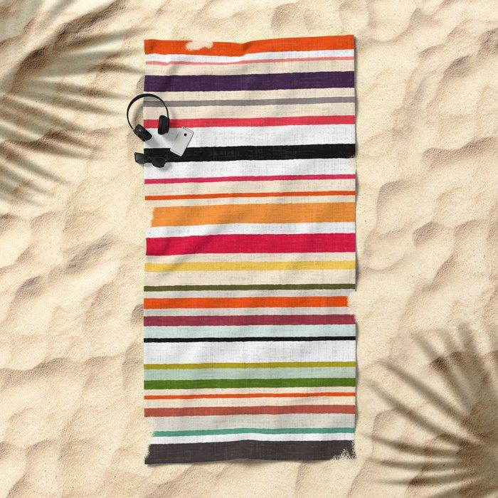 apartment stripe Beach Towel