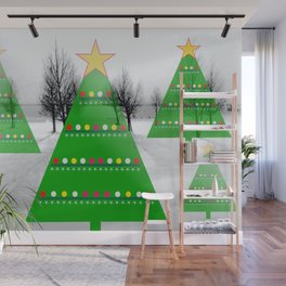 Christmastrees in snowlandscape Wall Mural