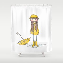 Time for Rain (white background) Shower Curtain