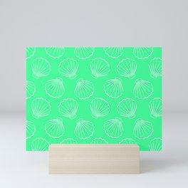 Tropical shells pattern in seafoam green, summer fresh print Mini Art Print