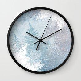 Fern Snowflakes - Taupe, Aqua & Blues Wall Clock