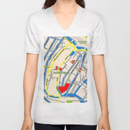 Amsterdam Map design Unisex V-Neck