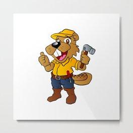Beaver holding a hammer Metal Print