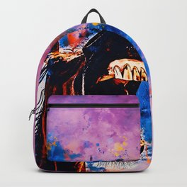 horse hilarious big mouth watercolor splatters blue purple Backpack