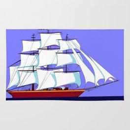A Clipper Ship Full Sail in Still Waters Rug