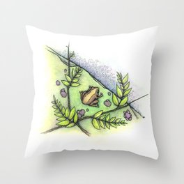 frog by the water Throw Pillow