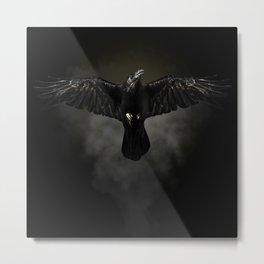 Black raven, crow flight Metal Print