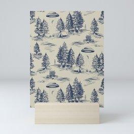 Alien Abduction Toile De Jouy Pattern in Blue Mini Art Print