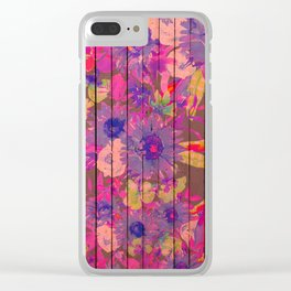 Brown wood magenta purple watercolor floral Clear iPhone Case