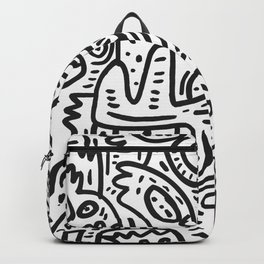 Graffiti Black and White Monsters are waiting for Halloween Backpack