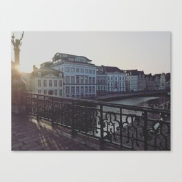 Sunset Over the Canals of Ghent, Belgium Canvas Print