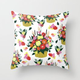 Background with basket of flowers Throw Pillow