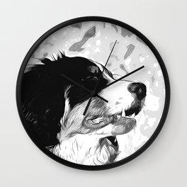 bernese mountain dog vector art black white Wall Clock