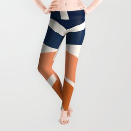 Abstract Shapes 9 in Burnt Orange and Navy Blue Leggings