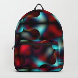 Bright pattern of blurry light blue and red flowers in a interweaving kaleidoscope. Backpack