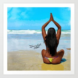 Beach Yoga Art Print