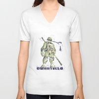 teenage mutant ninja turtles V-neck T-shirts featuring Donatello, Teenage Mutant Ninja Turtles by Carma Zoe