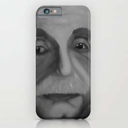 Albert Einstein, Original painting by Lu, black-and-white iPhone Case