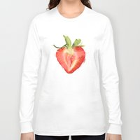 strawberry Long Sleeve T-shirts featuring strawberry by Cindy Lepage