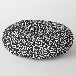 Art Nouveau Pattern Black And White Floor Pillow
