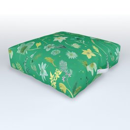 Verdant Flowers on Emerald Background Outdoor Floor Cushion