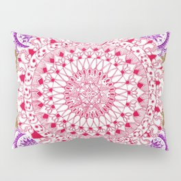 Red, Brown, and Purple Mandala Pattern Pillow Sham