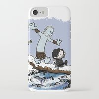 hobbes iPhone & iPod Cases featuring Jon and Hobbes beyond the wall by BovaArt