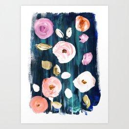 Blushy Blooms on Jade Art Print