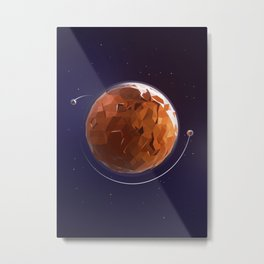 Mars in Low Poly Style Metal Print