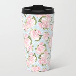 Pink Roses on Blue Polka Dots Travel Mug