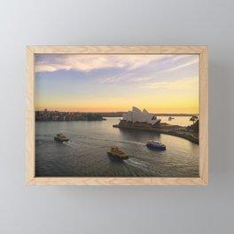 Early Morning Sydney Opera House And Ferries Framed Mini Art Print