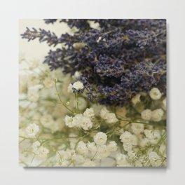 Lavender on gypsophila Metal Print