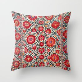 Kermina Suzani Uzbekistan Embroidery Print Throw Pillow