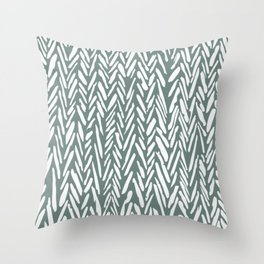Herringbone pattern - moss green and white Throw Pillow