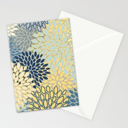 Floral Print, Yellow, Gray, Blue, Teal Stationery Cards