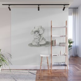 Love my husky | children illustration | black and white Ink Wall Mural
