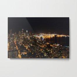 Seattle Night Lights - Great Wheel Metal Print
