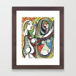 Pablo Picasso - Girl Before Mirror 1932 - Artwork for Prints Posters Tshirts Men Women and Kids Framed Art Print