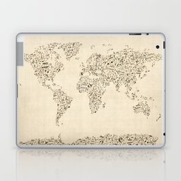 Music Notes Map of the World Laptop & iPad Skin