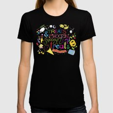 Treats and snoozin'. Snoozin' and treats. Womens Fitted Tee Black LARGE