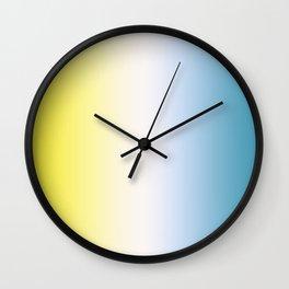 Blue White Yellow Gradient Wall Clock