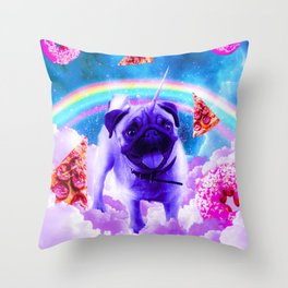 Rainbow Unicorn Pug In The Clouds In Space Throw Pillow