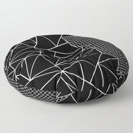 Abstract Grid Outline White on Black on Side Floor Pillow