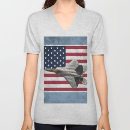 F22 Stealth Fighter Jet American Flag Unisex V-Neck