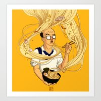 ramen Art Prints featuring Ramen by Jiaqi He