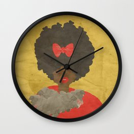 RED BOWS AND FAUX FUR Wall Clock