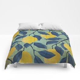 Vintage Lemon Branches on Mint Comforters