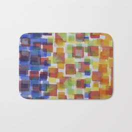 Squares on Solid Red and Blue Foundation Bath Mat