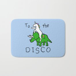 To The Disco (Unicorn Riding Triceratops) Bath Mat
