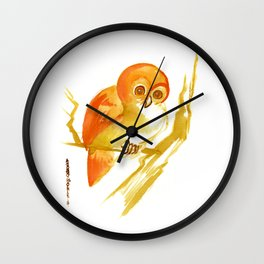 Orange Owl on Branch Wall Clock
